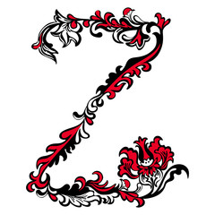 Initial letter Z on a white background