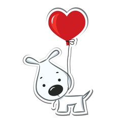 Dog with the heart balloon. Sticker. Vector illustration