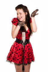 Pin-up girl singing a song