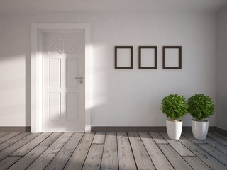 white wall with white door