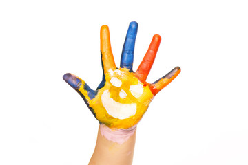 Colored hand with smile painted in colorful paints as logo.