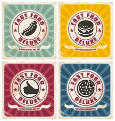 Wall Mural - Vintage fast food posters collection