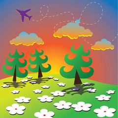 Printed roller blinds Airplanes, balloon Cartoon Spring Landscape