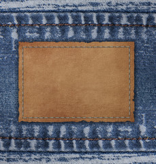 blue jean with Blank leather background