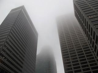 Foto op Canvas Aan het plafond Modern office buildings in the fog, Minneapolis, USA