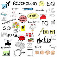 concept psychology, color doodle icons and symbols