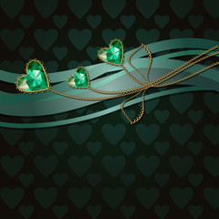 Beautiful three green diamond hearts and gold ornaments