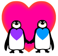 Partners in love-soul mates-penguin vector