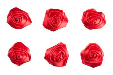 set of roses made of silk ribbon