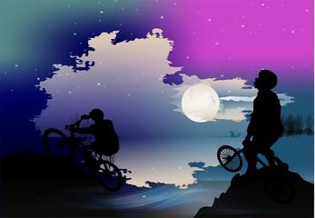 Nocna wycieczka na rowerach,