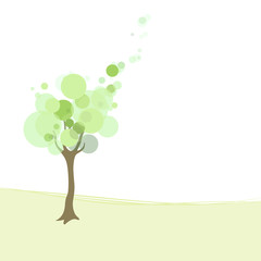 Stylized tree and text. Vector illustration.