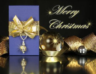 Merry Christmas postcard with blue and golden gift arrangement