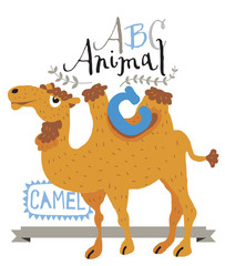 ABC animals: C is for wolf. Vector Graphics