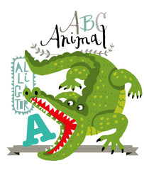 АBC animals: a is for alligator. Vector Graphics