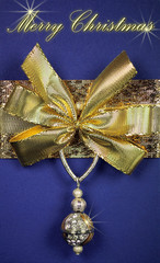Luxurious Merry Christmas greeting card in blue and golden