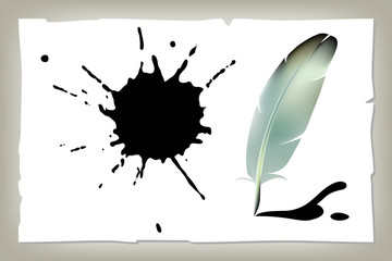 Feather, hand writing instrument with ink blots, pen