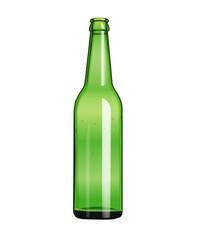 green empty beer bottle