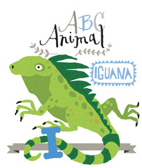 ABC animals: I is for iguana. Vector Graphics
