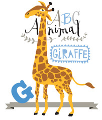 ABC animals: G is for giraffe. Vector Graphics
