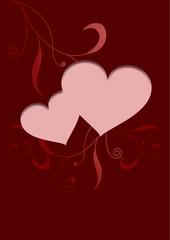 Valentinskarte mit Herzen und Ornament in Rot