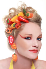 Creative Image of Peppers Integrated into Hair