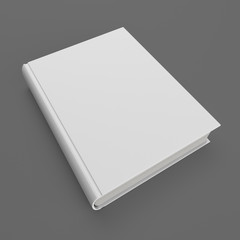 Blank white hardcover book isolated on gray