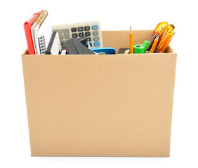 Cardboard box collected – unemployment concept