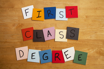 'First Class Degree' word tiles - Education, University.