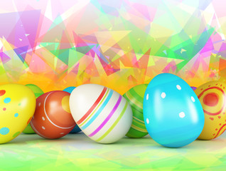 Easter eggs on a color background