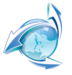 Earth with arrows blue icon