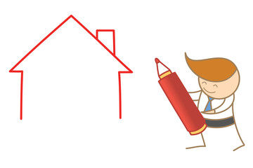 cartoon character of business man drawing house