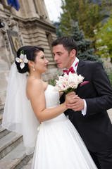 Happy in love newlyweds