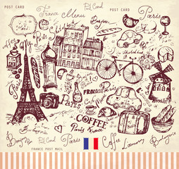 Foto op Plexiglas Doodle Vector hand drawn card with Paris symbols