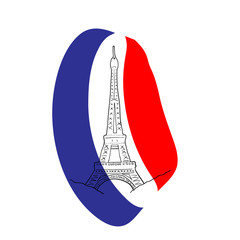 Eiffel tower silhouette on french flag
