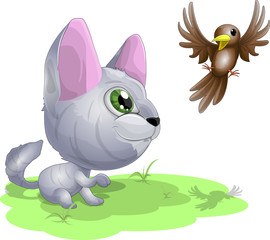 kitten and birdie