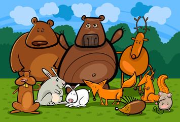 Foto op Plexiglas Bosdieren wild forest animals group cartoon illustration