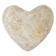 Stone heart shape isolated on white