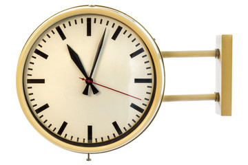 Vintage beige office clock isolated on white
