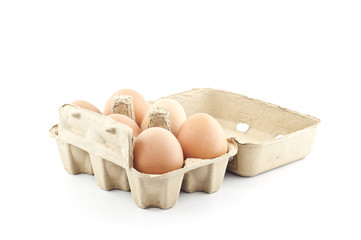 Eggs in paper tray.