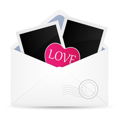 Open envelop with photo frame and heart. Vector illustration.