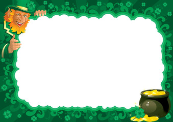 Border  with Lucky leprechaun and pot for St. Patrick's Day