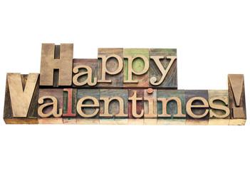 Happy Valentines in wood type