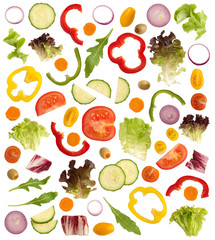 Cut vegetables for a salad