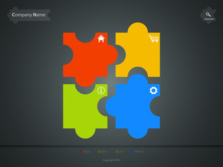 corporate website template, creative jigsaw puzzle design