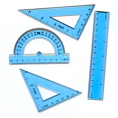 Transparent protractor and rulers