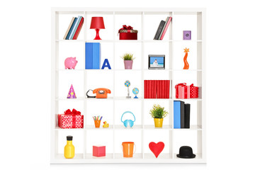 White shelves with different home objects