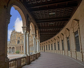 Hall with columns in the Plaza of Spain in Seville