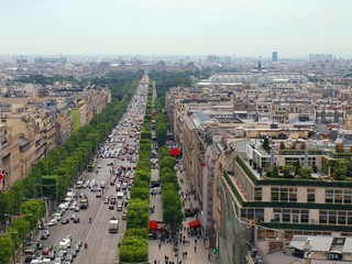 The Champs Elysee and the Louvre in the distance