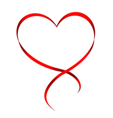 Heart from red ribbon isolated on white background