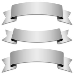 Vector set of silver ribbons, tapes (without shadow included)